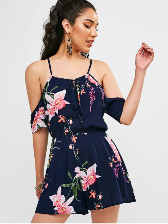 online Floral Print Knotted Cami Romper - DEEP BLUE L