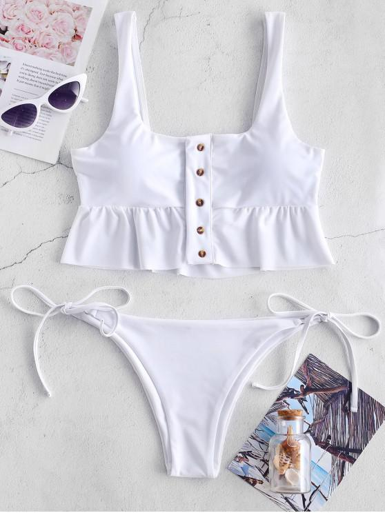 women ZAFUL Button Up Peplum Tie Side Bikini Set - WHITE L
