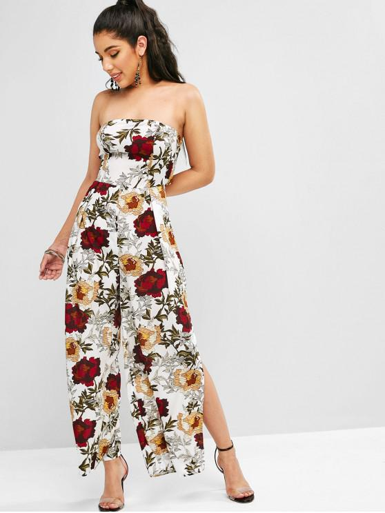 fashion Floral Print Slits Wide Leg Jumpsuit - WHITE M