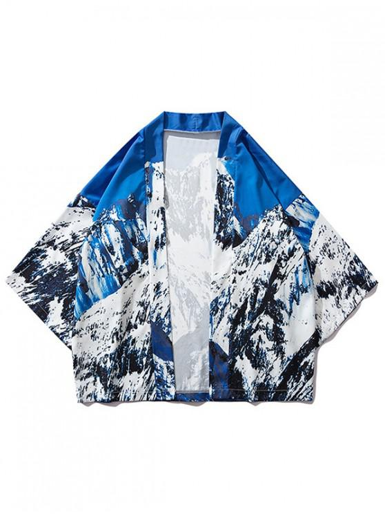 shop Snow Mountain Print Casual Kimono Cardigan - OCEAN BLUE 2XL