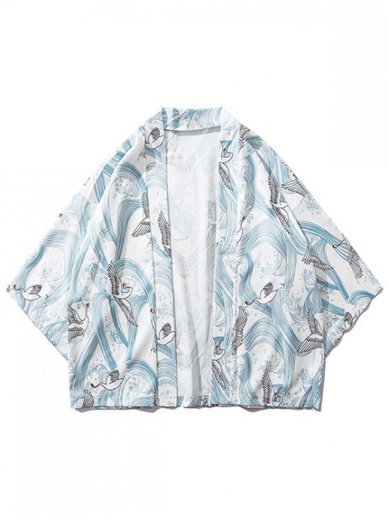 latest Waves Cranes Print Kimono Cardigan - WHITE L