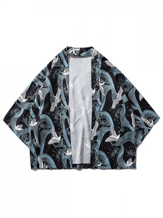 fancy Waves Cranes Print Kimono Cardigan - BLACK L