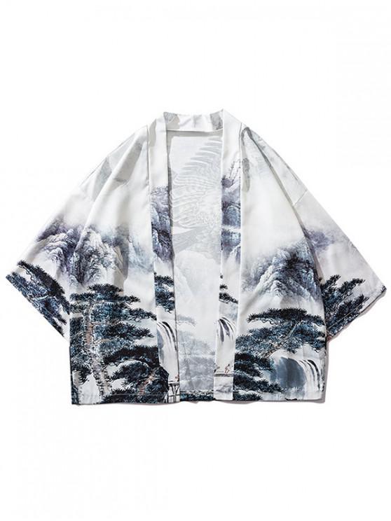 latest Chinese Painting Eagle Print Kimono Cardigan - COOL WHITE M