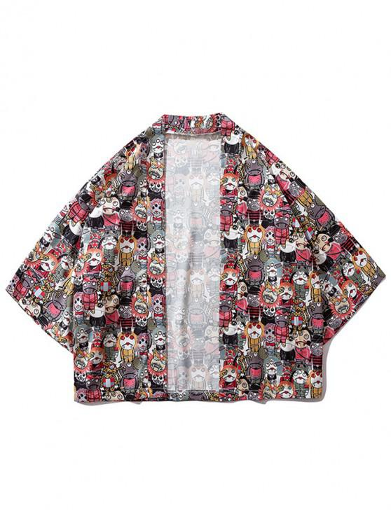 sale Japanese Cartoon Print Kimono Cardigan - MULTI XL