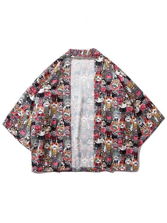 Japanischer Cartoon-Print-Kimono-Cardigan - Multi 2XL