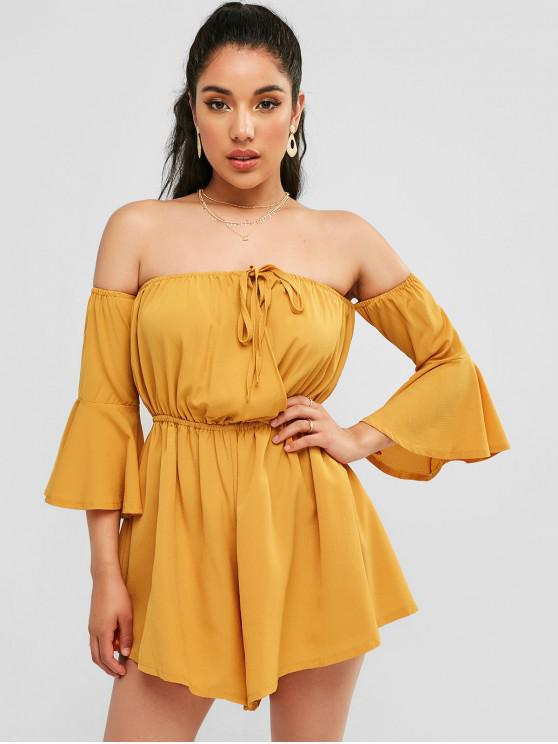ladies Tied Flare Sleeve Off Shoulder Romper - BEE YELLOW L