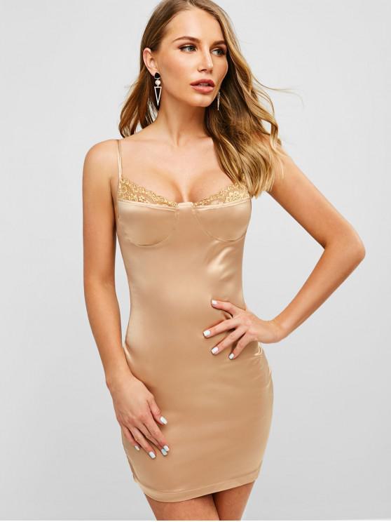 hot Satin Lace Panel Cami Dress - LIGHT KHAKI M