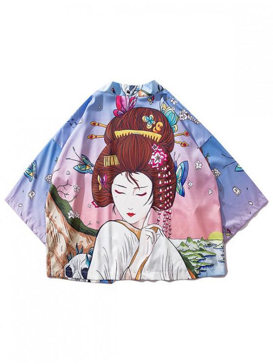 sale Beauty and Scenery Painting Print Kimono Cardigan - PINK M