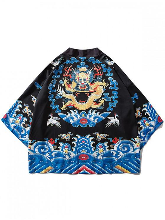 lady Sea Waves Dragon Print Kimono Cardigan - BLACK L