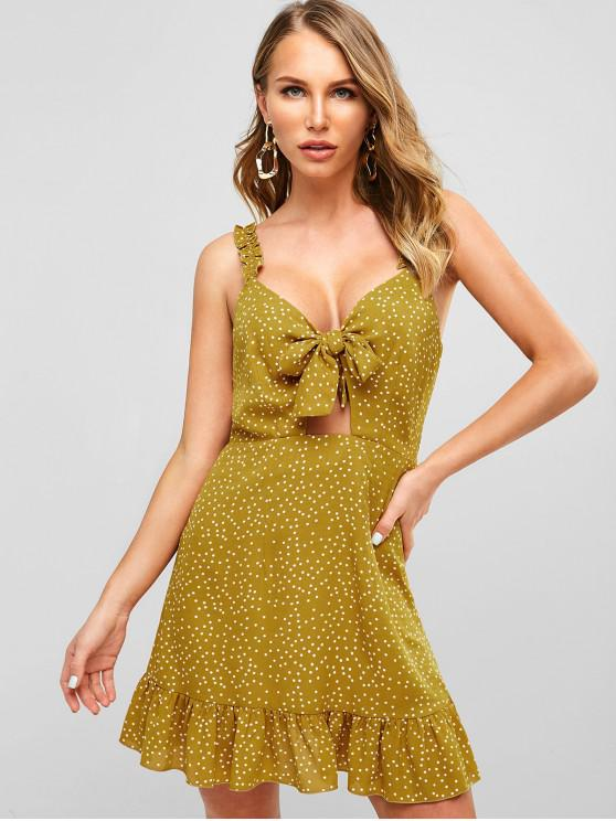 ZAFUL منتفخ رقصة البولكا نقطة عقدة اللباس مزركش - نحلة صفراء M