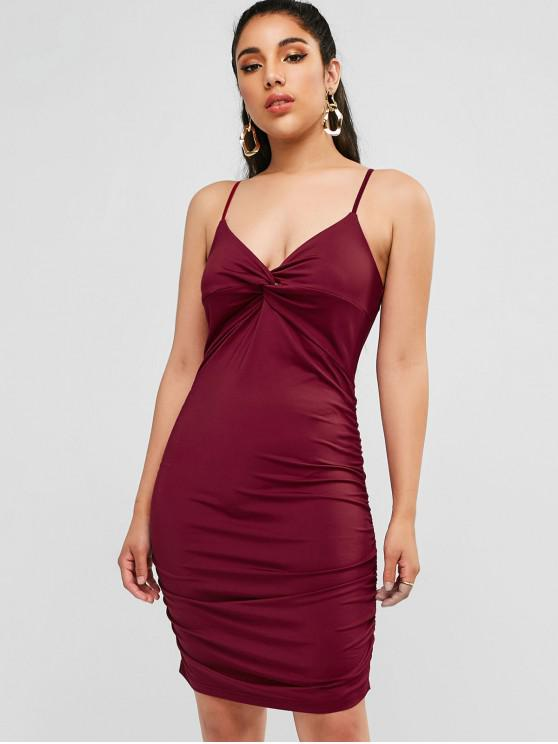 shops ZAFUL Twist Cami Ruched Short Dress - RED WINE S