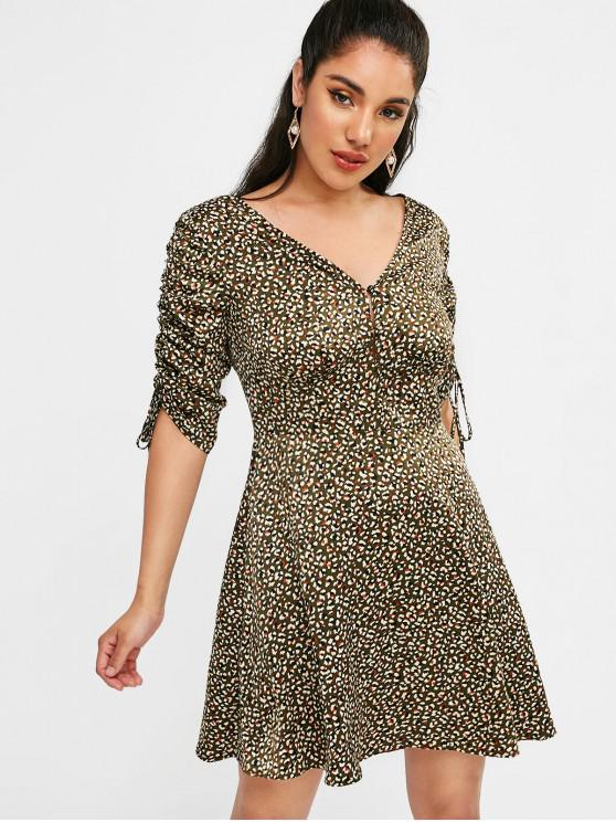 shop ZAFUL Half Buttoned Cinched Leopard Dress - DARK FOREST GREEN M