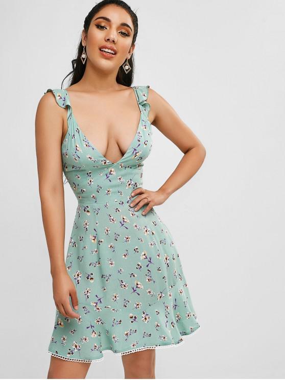 womens ZAFUL Knot Back Floral Mini Flounce Dress - DARK SEA GREEN L