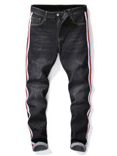 Embroidery Animals Stripes Print Jeans - Graphite Black 34