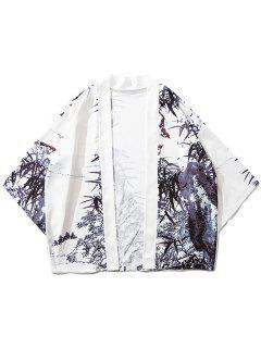 Bamboos Ink Painting Print Kimono Cardigan - White Xl