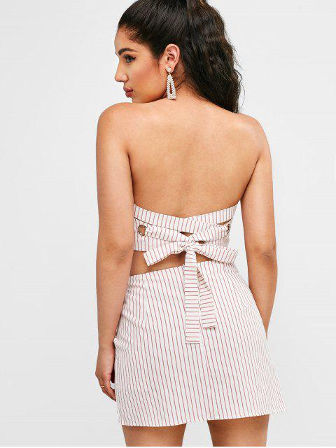 women ZAFUL Striped Bandeau Top and Overlap Skirt Set - WHITE S Mobile