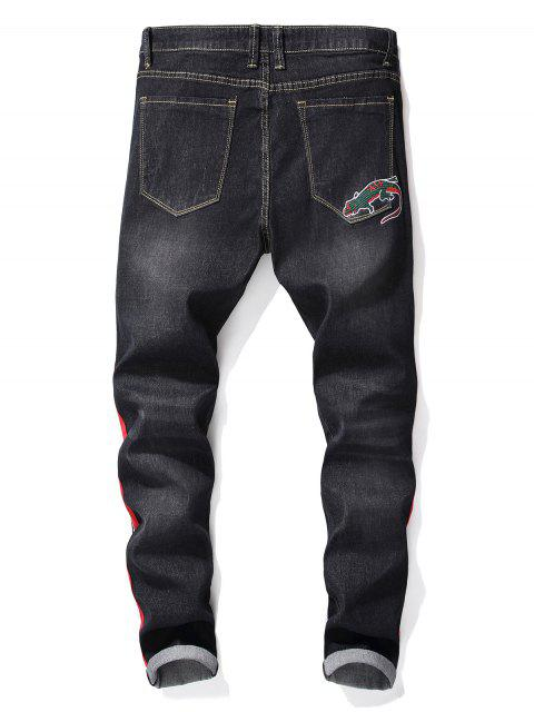 chic Embroidery Animals Stripes Print Jeans - GRAPHITE BLACK 34 Mobile
