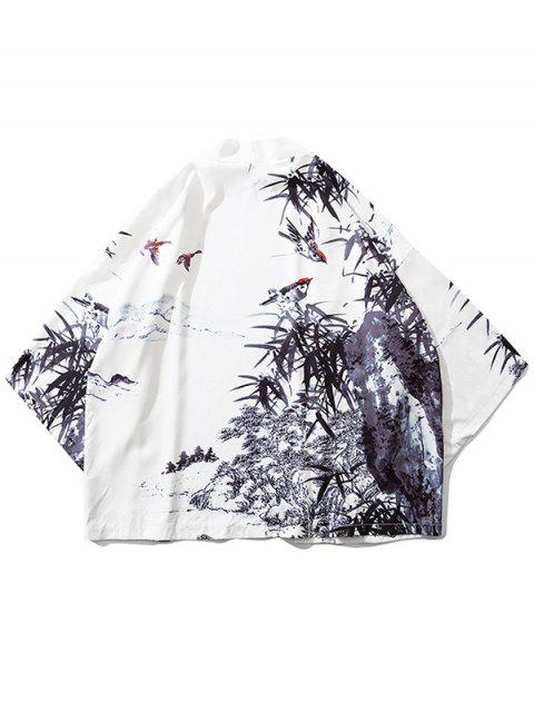women's Bamboos Ink Painting Print Kimono Cardigan - WHITE 2XL Mobile