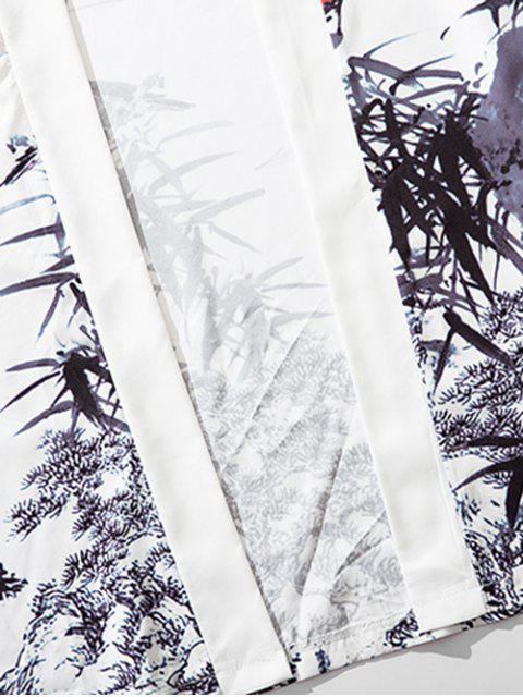 Cardigan Kimono Bambou Peinture d'Encre Imprimée - Blanc 2XL Mobile