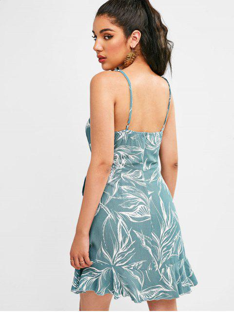 shops ZAFUL Leaves Print Knotted Ruffles Dress - CYAN OPAQUE S Mobile