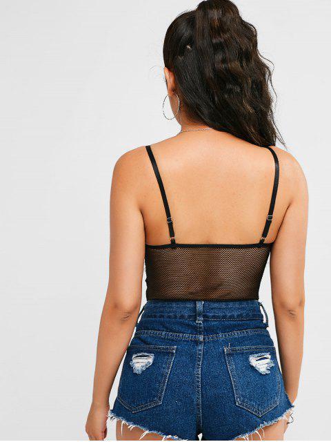 womens Lace Mesh Cami Snap Crotch Bodysuit - BLACK S Mobile