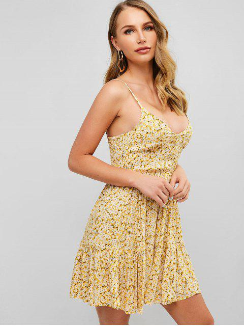 affordable ZAFUL Smocked Back Tiny Floral Cami Dress - SUN YELLOW S Mobile
