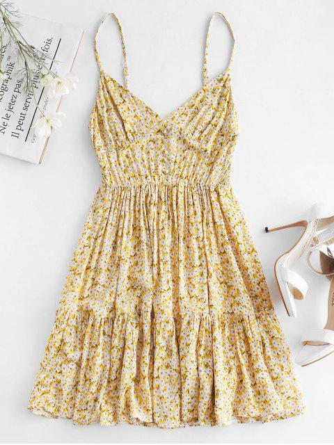 ZAFUL Smocked Back Tiny vestido de cami floral - Amarillo de Sol  S Mobile