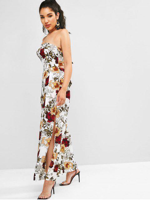 shops Floral Print Slits Wide Leg Jumpsuit - WHITE XL Mobile