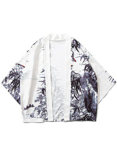 Cardigan Kimono Bambou Peinture D'Encre Imprimée - Blanc Xl