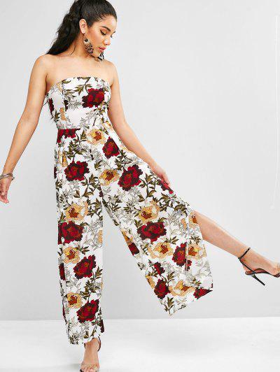 bf05a99d8f ... Floral Print Slits Wide Leg Jumpsuit - White M
