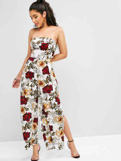 3342e4e489d Floral Print Slits Wide Leg Jumpsuit - White M ...