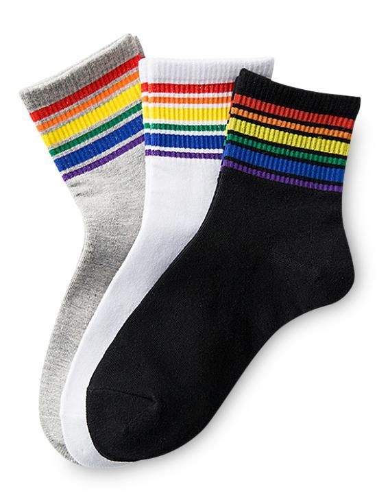 3Pairs Rainbow Stripe Sock Set