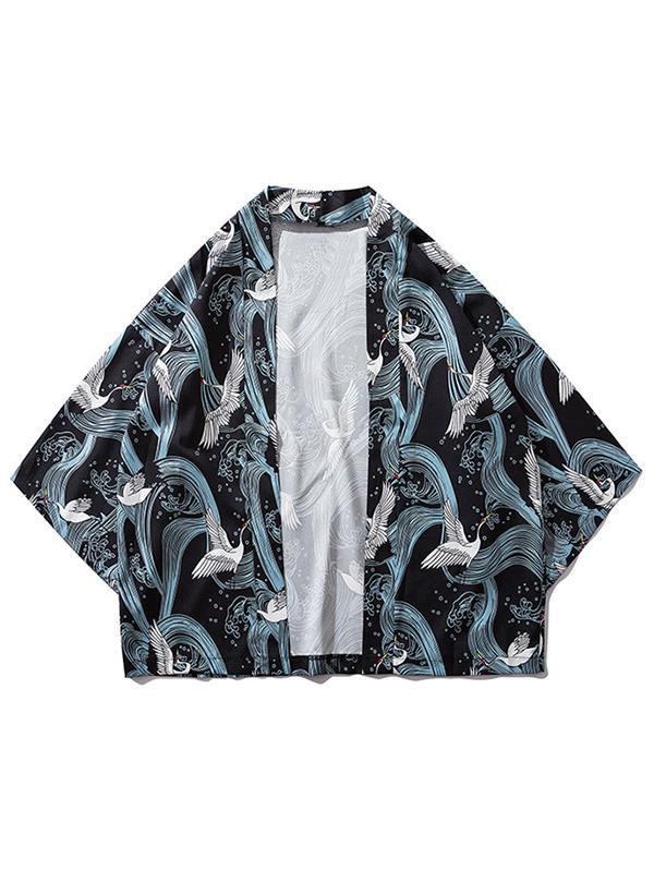 Les Vagues De Grues Impression Kimono Cardigan