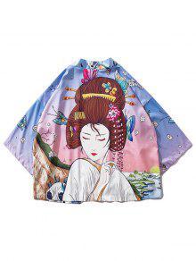 Zaful|Cuadro de pintura de belleza y paisajes Kimono Cardigan