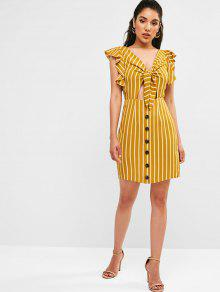 dcca23de1952 27% OFF] 2019 ZAFUL Ruffled Plunge Knot Striped Dress In BEE YELLOW ...