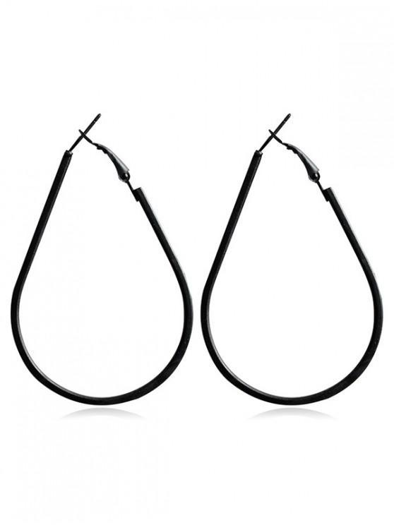 online Water Drop Shape Hoop Earrings - BLACK