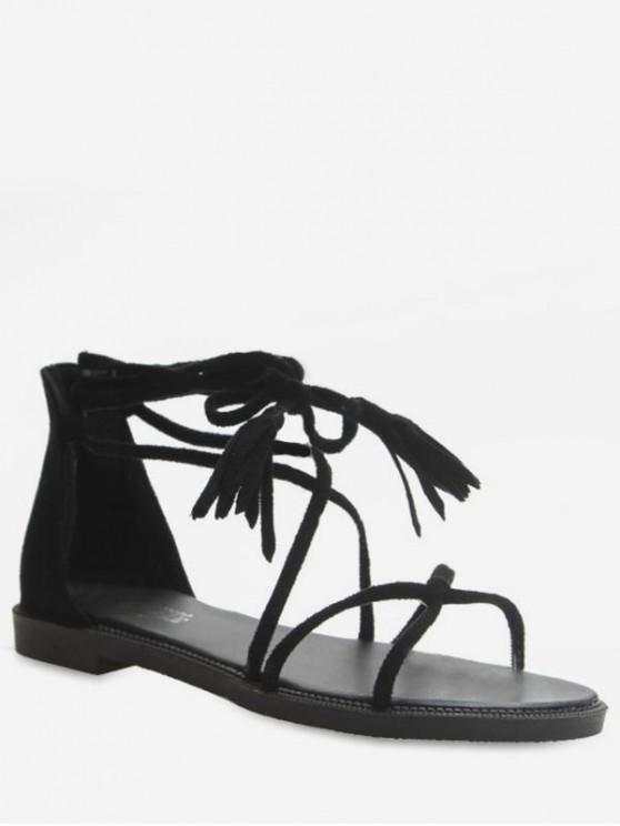 sale Back Zip Strappy Flat Sandals - BLACK EU 39