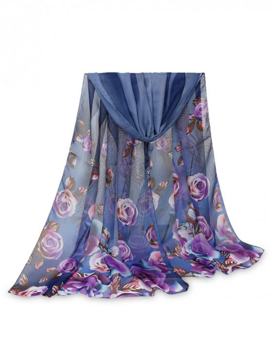 affordable Rose Feather Printed Long Scarf - DEEP BLUE