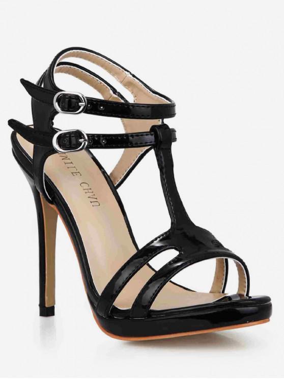 outfit T Strap Super High Heel Sandals - BLACK EU 41