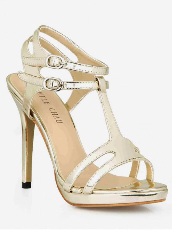 trendy T Strap Super High Heel Sandals - GOLD EU 43