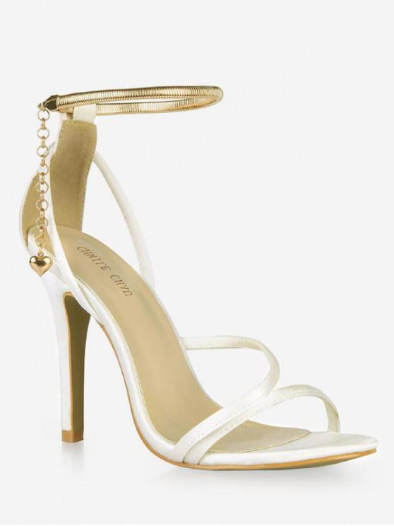 shop Chain Design Cut High Heel Sandals - CRYSTAL CREAM EU 37