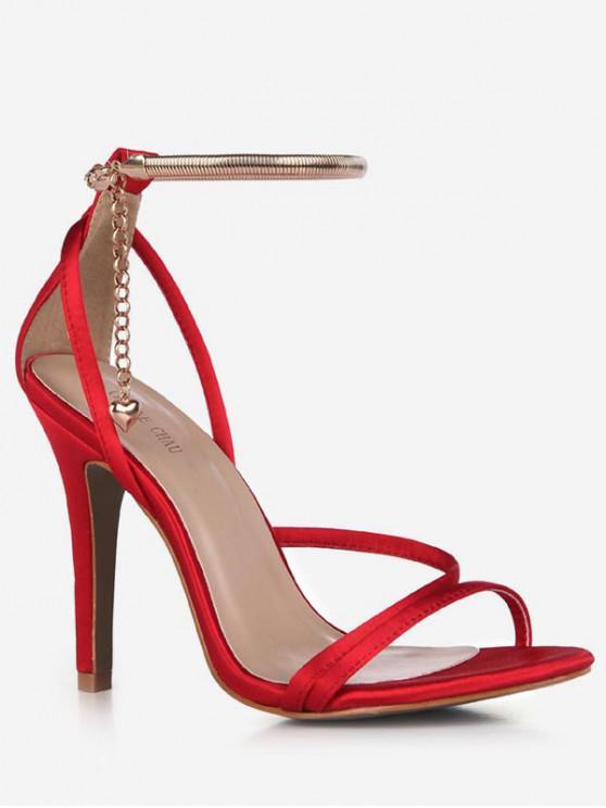 lady Chain Design Cut High Heel Sandals - RED EU 37