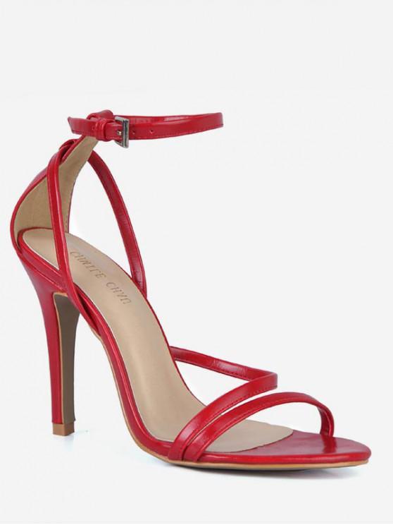 fashion PU Leather Cut Stiletto Heel Sandals - RED EU 37