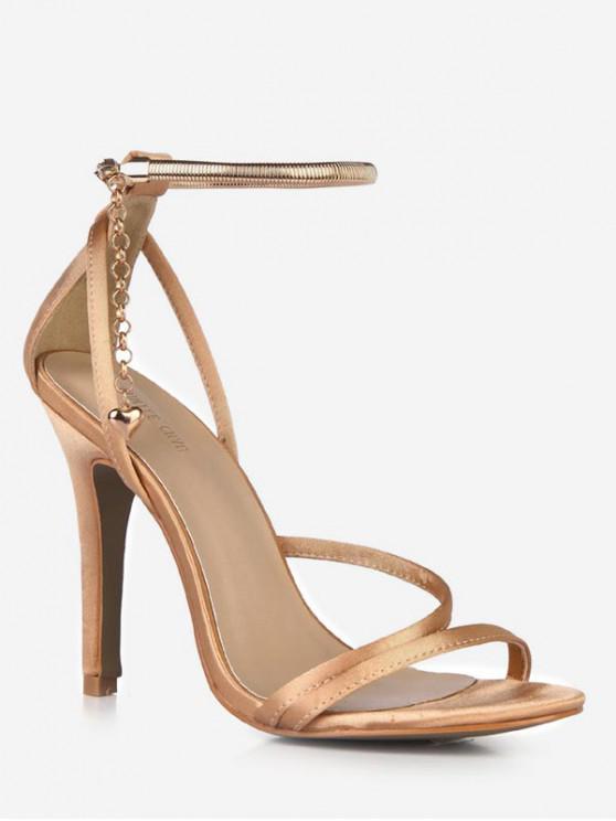 shop Chain Design Cut High Heel Sandals - GOLD EU 37