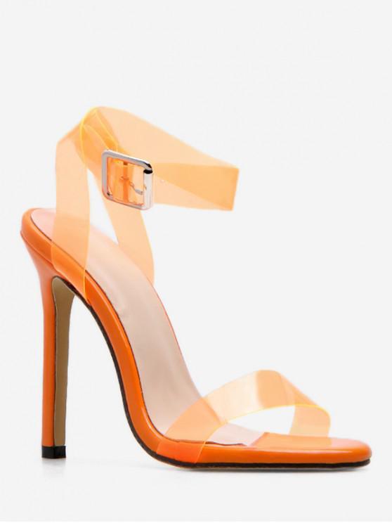 womens Transparent PVC Strap Heeled Sandals - ORANGE EU 39