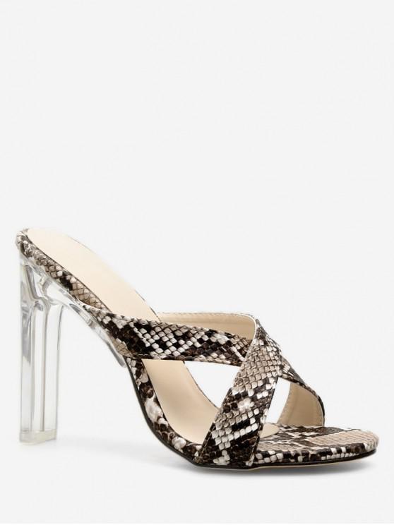 fashion Snake Pattern Clear Chunky Heel Slides - SILVER EU 37