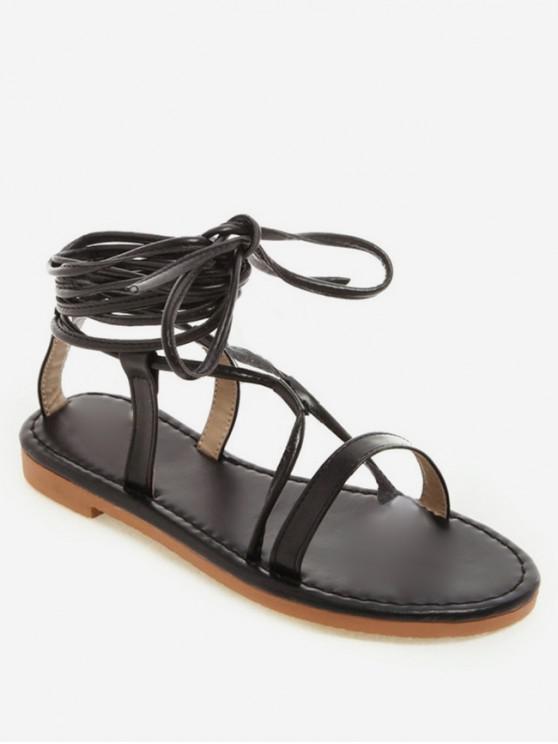 affordable Lace Up Gladiator Flat Sandals - BLACK EU 41