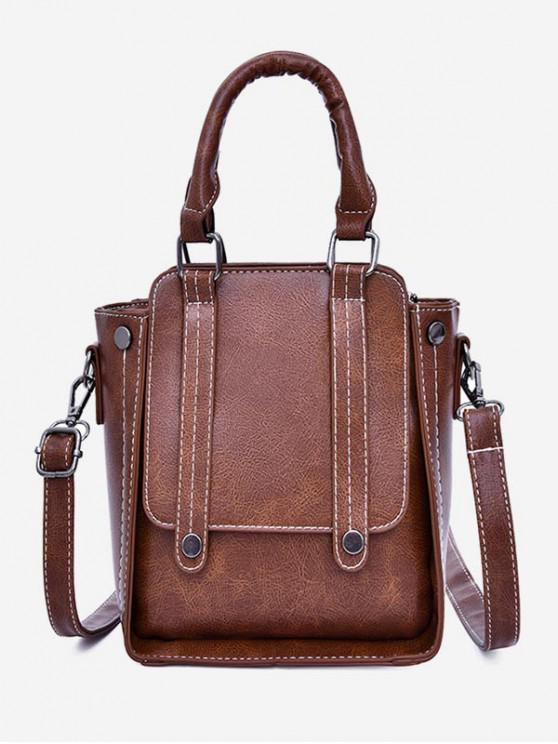shop Retro Strap Accent Tote Bag - BROWN