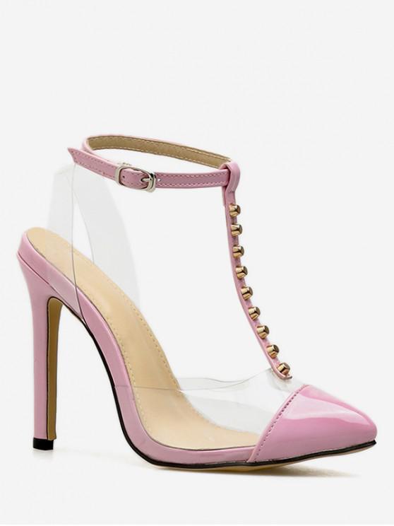 affordable Studded T Strap PVC High Heel Sandals - PINK EU 40