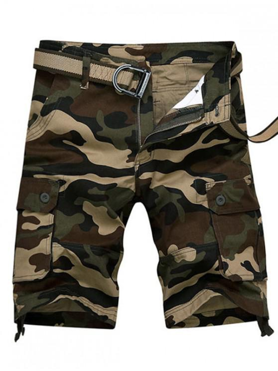 buy Camouflage Print Casaul Cargo Shorts - DIGITAL WOODLAND CAMOUFLAGE 36